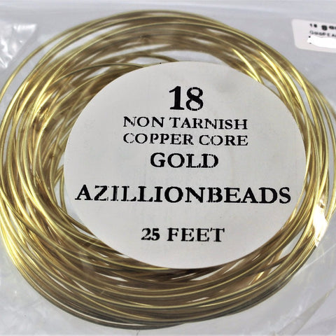 18g Copper Core Wire, Gold Enameled, 25ft - Azillion Beads