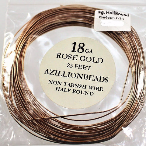 18g Half Round Copper Wire, Rose Gold, 25ft  R7S4B-18RG - Azillion Beads