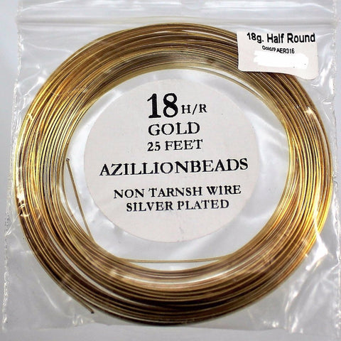 18g Half Round Copper Wire, Gold color, 25ft  R7S5B-18HRG - Azillion Beads