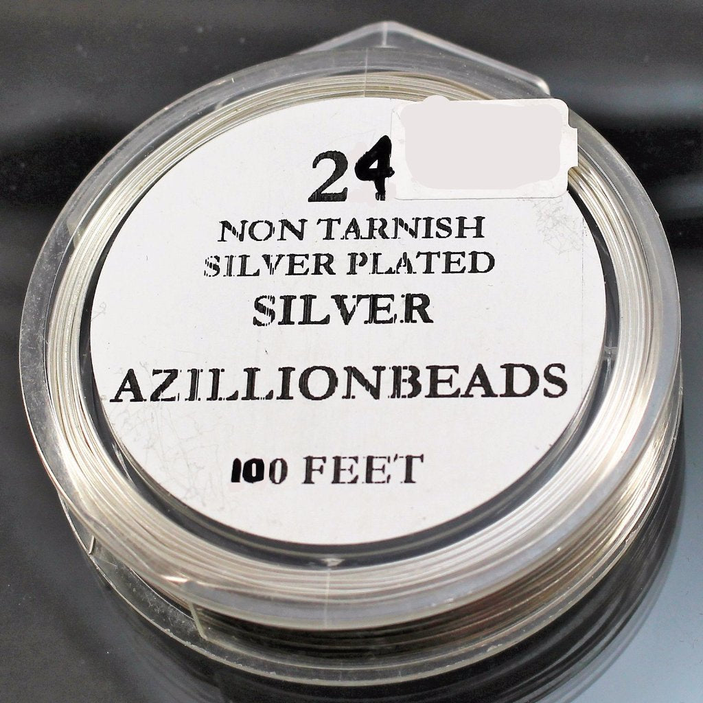 24g Copper Wire, Silver Plated, 100ft  R7S5C-24S - Azillion Beads
