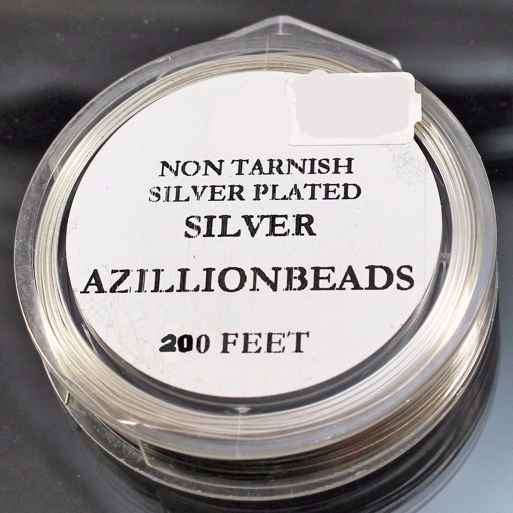 28g Copper Wire, Silver Plated, 200ft  R7S5C-28S - Azillion Beads