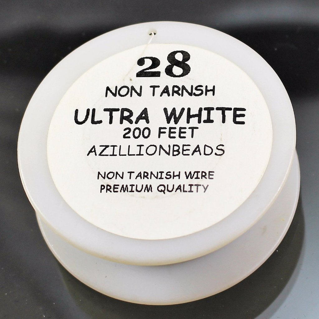 28g Copper Wire, Ultra White, 200ft  R7S5C-28UWH - Azillion Beads