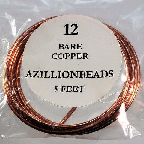 12g Copper Wire, Bare Copper, 5ft - Azillion Beads