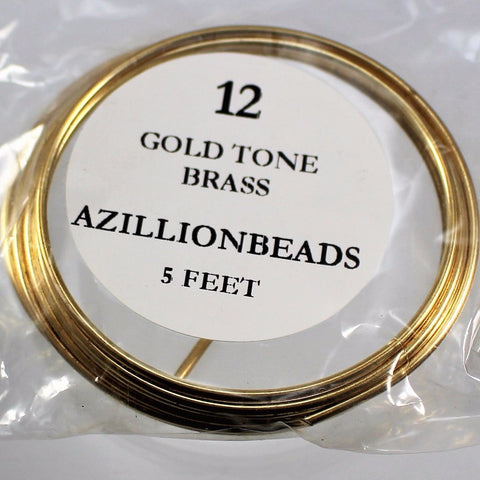 12g Brass Wire, Gold Tone Brass, 5ft  R7S4B-12GTB - Azillion Beads
