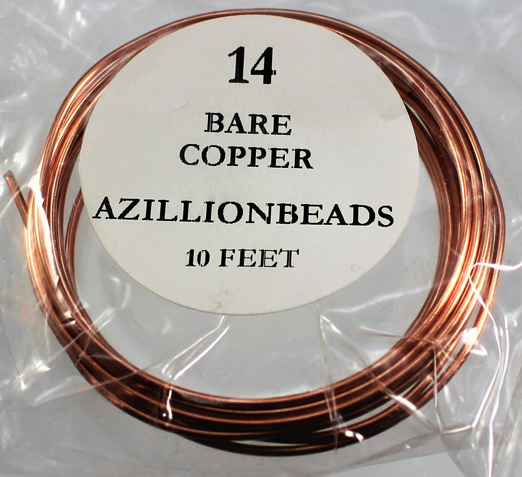 14g Copper Wire, Bare Copper, 10ft  R7S4B-14BC - Azillion Beads