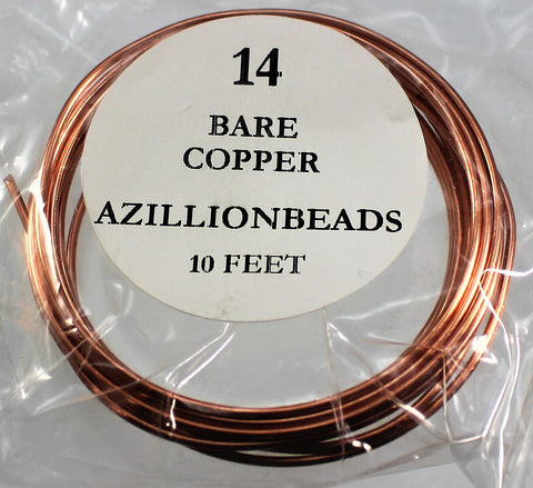 14g Copper Wire, Bare Copper, 10ft  R7S4B-14BC
