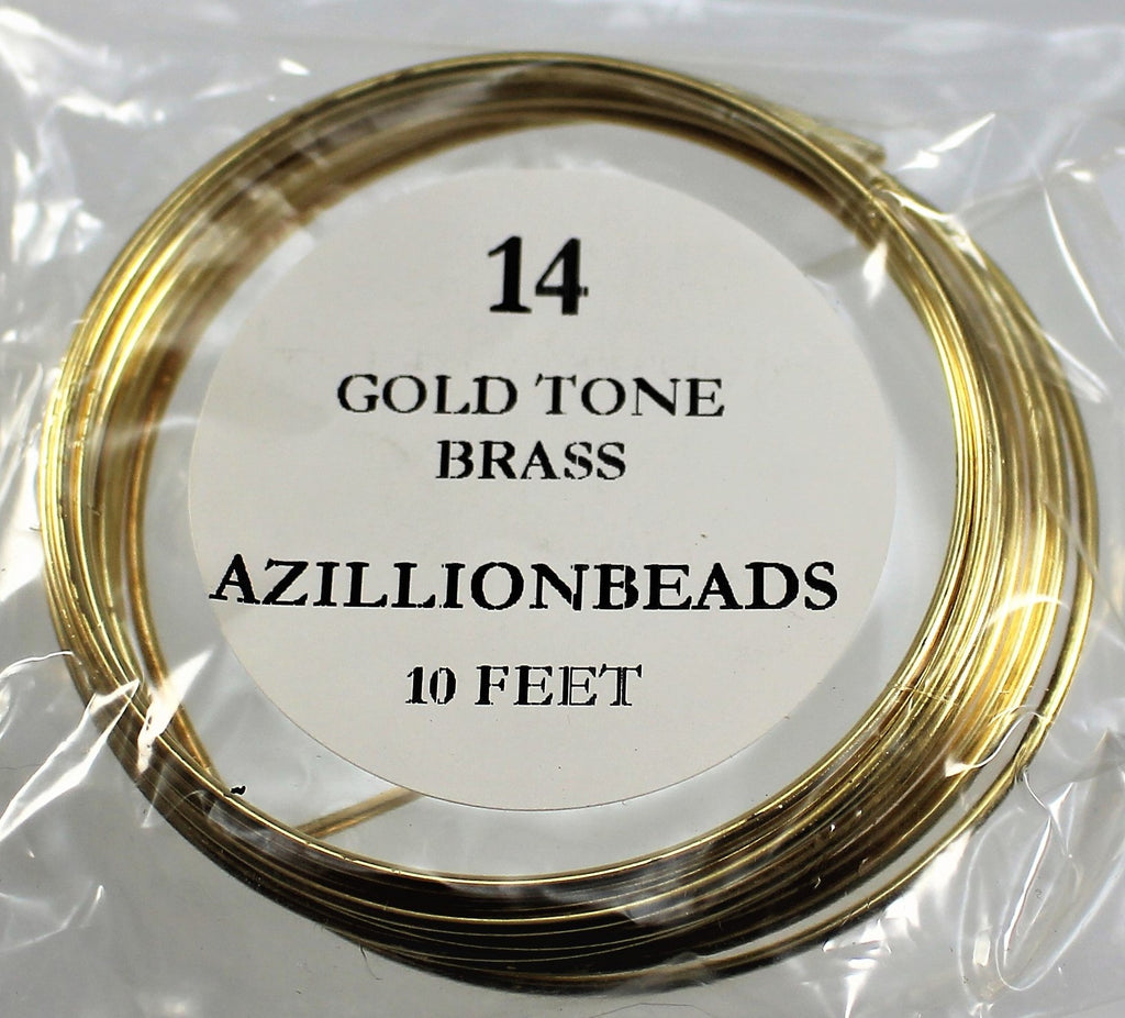 14g Brass Wire, Gold Tone Brass, 10ft  R7S4B-14GTB - Azillion Beads
