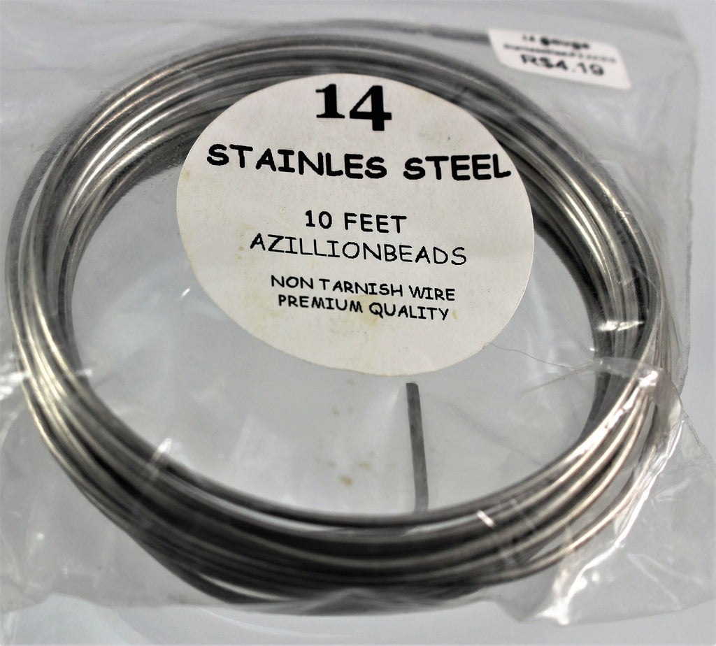 14g Stainless Steel Wire, Natural Color, 10ft - Azillion Beads