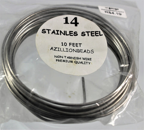14g Stainless Steel Wire, Natural Color, 10ft   R7S4B-14SS - Azillion Beads