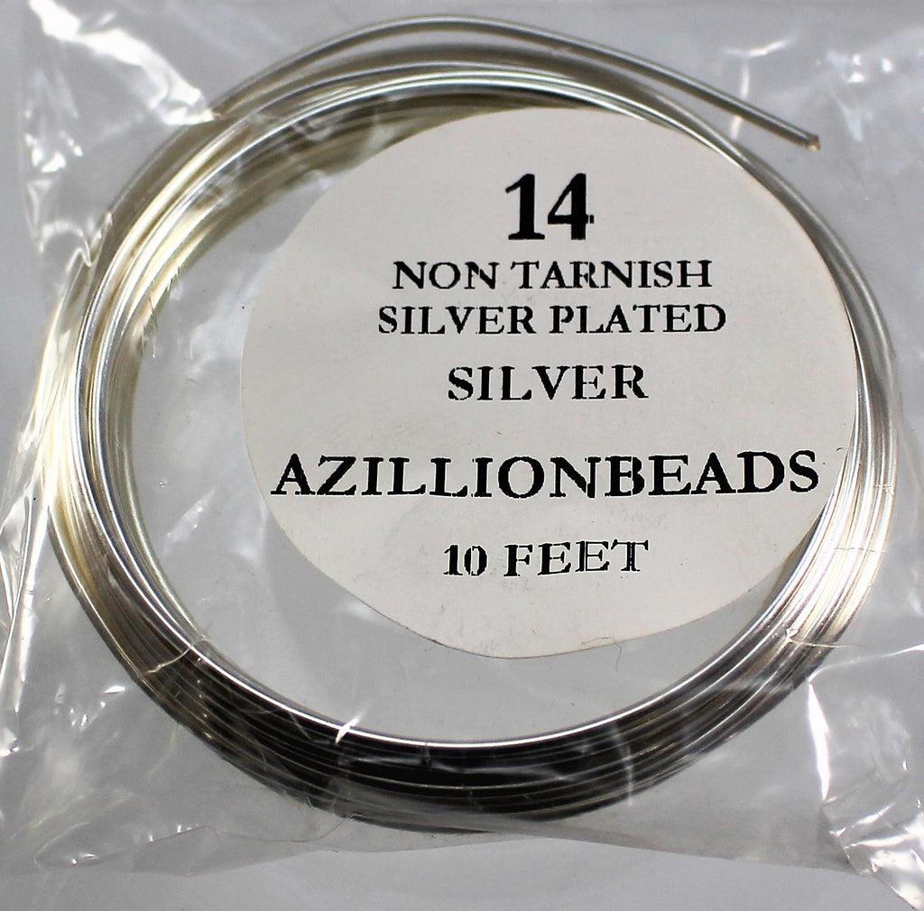 14g Copper Core Wire, Non Tarnish Silver Plated, 10ft - Azillion Beads