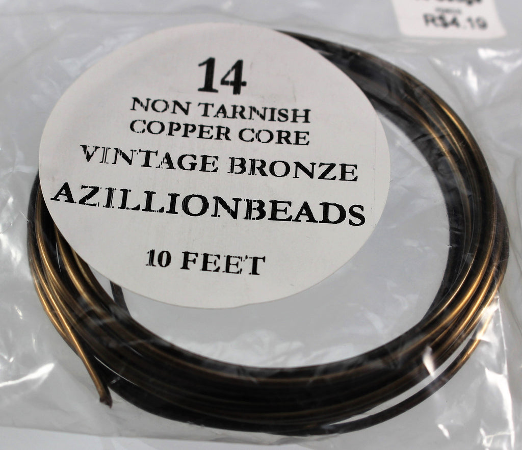 14g Copper Core Wire, Vintage Bronze, 10ft - Azillion Beads