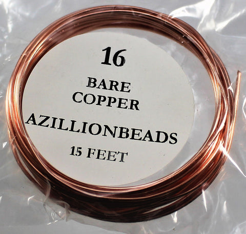 16g Copper Wire, Bare Copper, 15ft  R7S4B-16BC - Azillion Beads