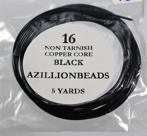 16g Copper Wire, Black, 15ft  R7S4B-16BLK - Azillion Beads