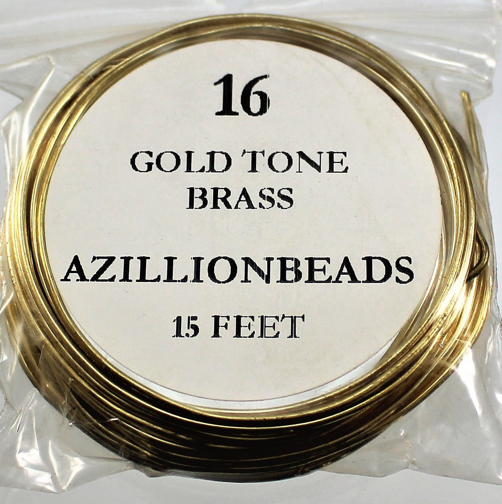 16g Brass Wire, Gold Tone, 15ft  R7S4B-16GTB - Azillion Beads