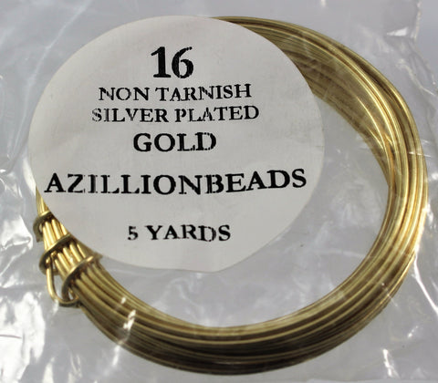 16g Copper Wire, Non Tarnish Silver Plated, Gold color, 15ft - Azillion Beads