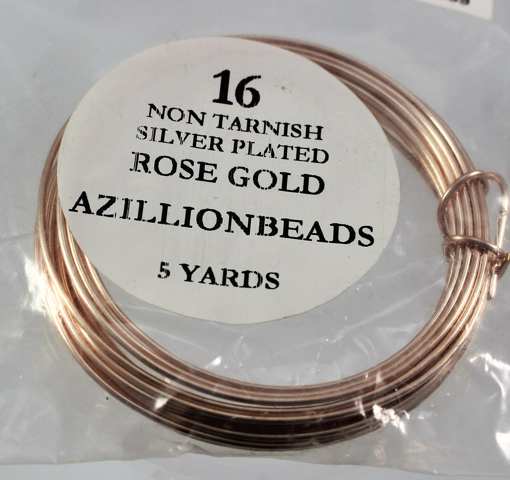 16g Rose Gold Copper Core Wire, Non Tarnish Silver Plated, 15ft - Azillion Beads