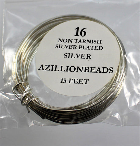 16g Copper Wire, Non Tarnish Silver Plated, 15ft  R7S4B-16S - Azillion Beads