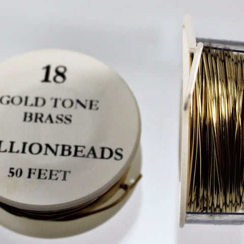 18g Brass Wire, Gold Tone Brass, 50ft  R7S4B-18GTB - Azillion Beads