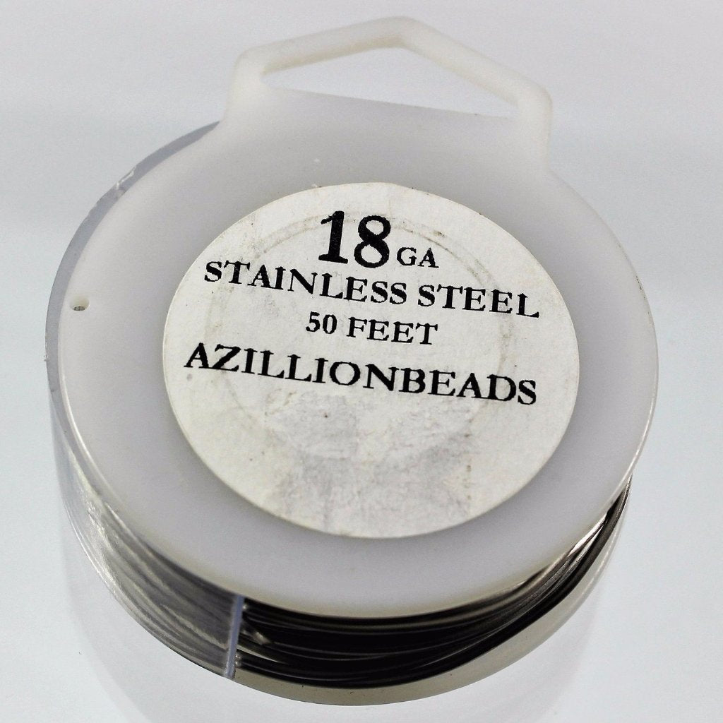 18g Stainless Steel Wire, Natural Color, 50ft  R7S4B-18SS - Azillion Beads