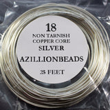 18g Copper Core Wire, Non Tarnish Silver Plated, Clear Enameled, 25ft - Azillion Beads