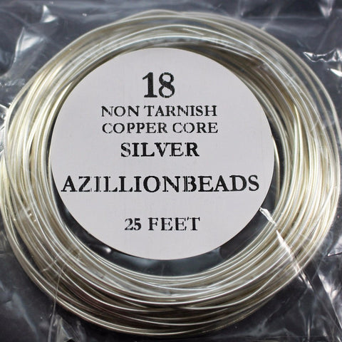18g Copper Wire, Non Tarnish Silver Plated, 25ft  R7S4B-18S - Azillion Beads