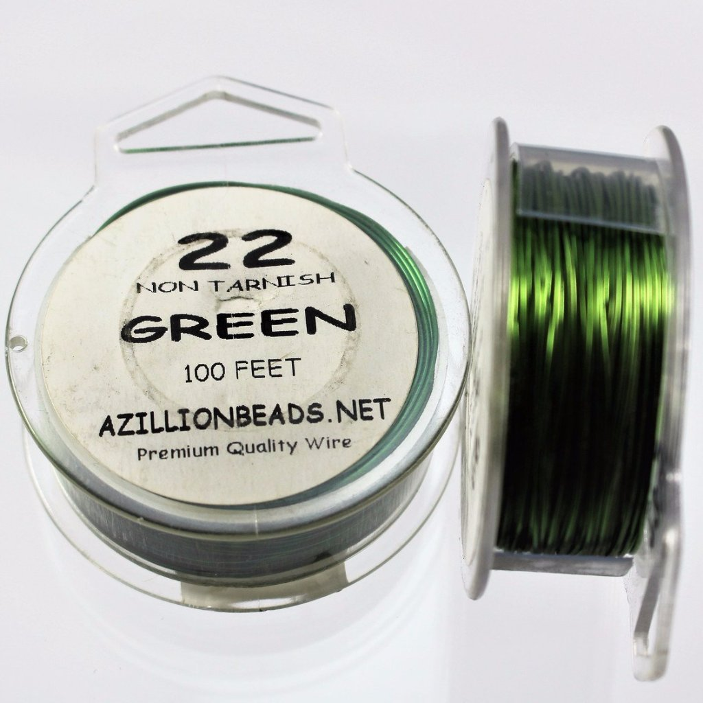 22g Copper Wire, Green, 100ft  R7S4C-22GRN - Azillion Beads