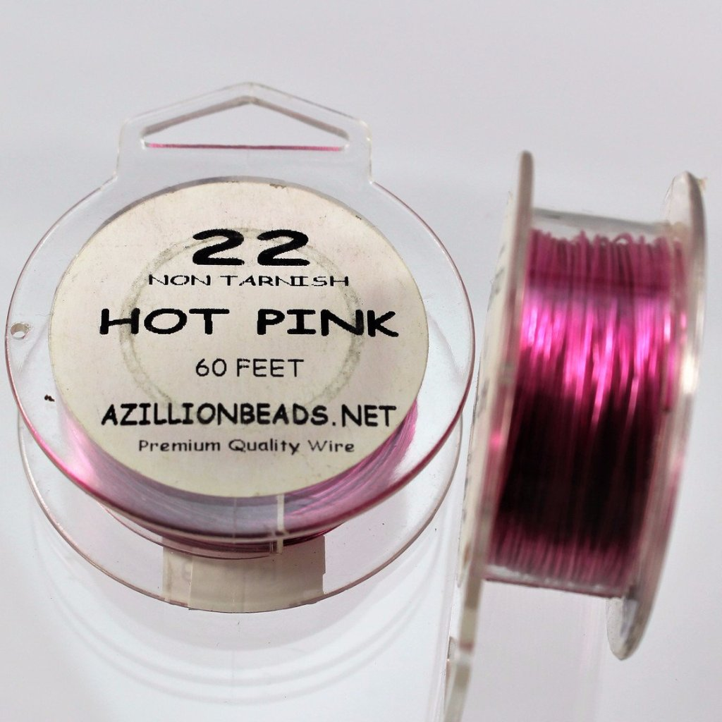 22g Copper Wire, Hot Pink, 60ft  R7S4C-22HP - Azillion Beads
