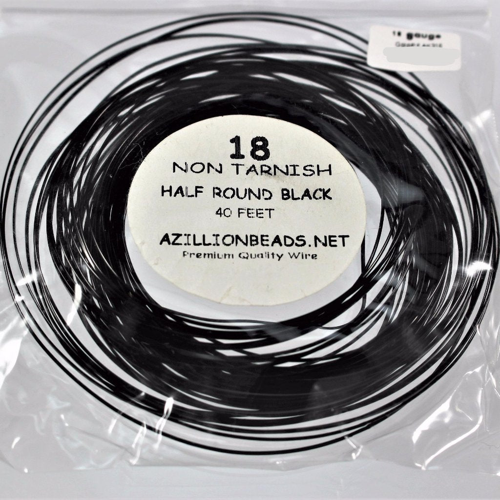 18g Half Round Copper Core Wire, Black Enameled, 40ft - Azillion Beads