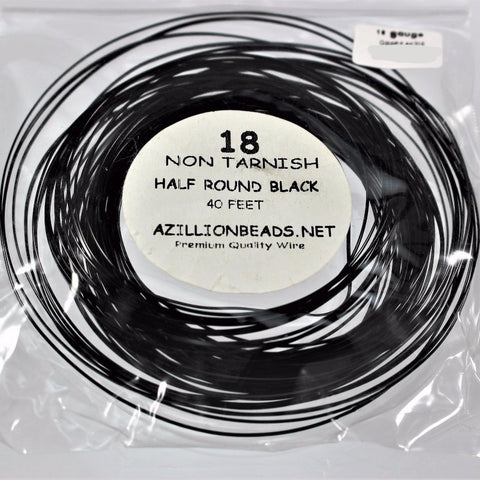 18g Half Round Copper Wire, Black, 40ft  R7S5B-18HRBLK - Azillion Beads