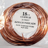 18g Square Copper Core Wire, Non Tarnish Copper, 21ft - Azillion Beads