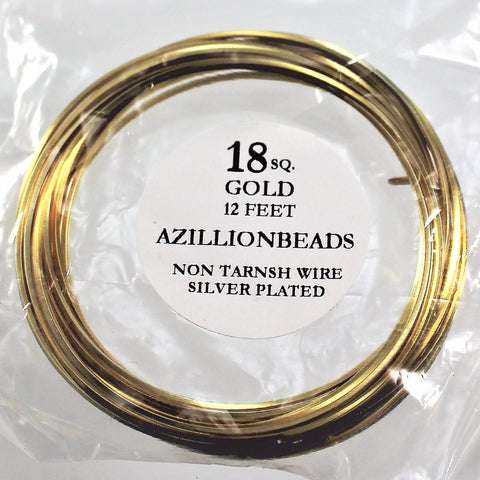 18g Square Copper Core Wire, Gold Enameled, 12ft - Azillion Beads