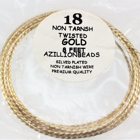 18g Twisted Copper Core Wire, Gold, 8ft  R7S5B-18TWG - Azillion Beads