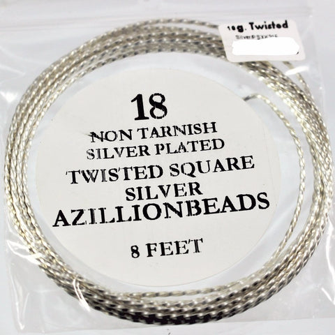 18g Twisted Copper Core Wire, Silver Plated, 8ft  R7S5B-18TWS - Azillion Beads