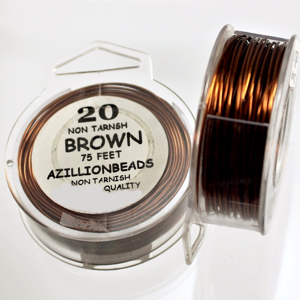 20g Copper Wire, Brown, 75ft  R7S5B-20BRN - Azillion Beads