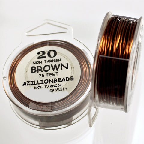 20g Copper Core Wire, Brown Enameled, 75ft - Azillion Beads