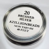 20g Copper Core Wire, Brushed Silver, 40ft - Azillion Beads