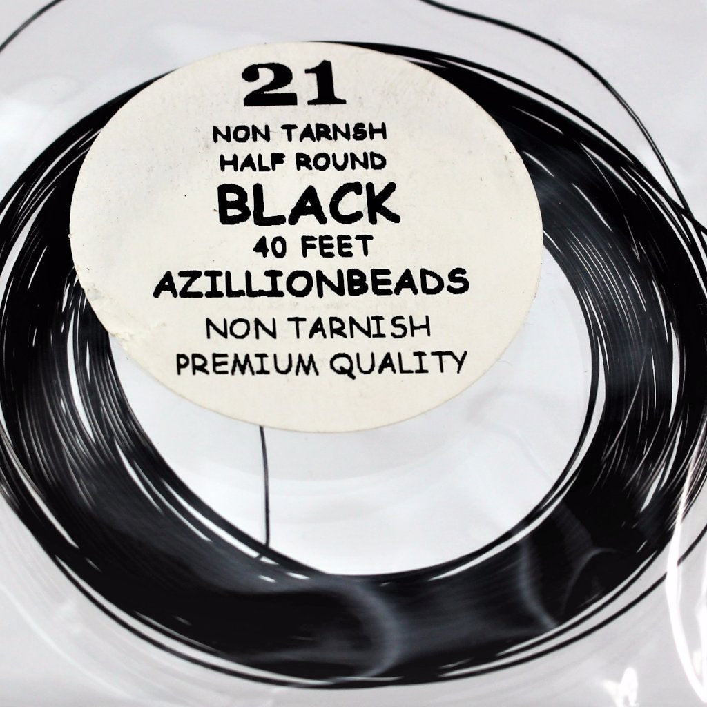 21g Half Round Copper Wire, Black, 40ft  R7S5B-21HRBLK - Azillion Beads