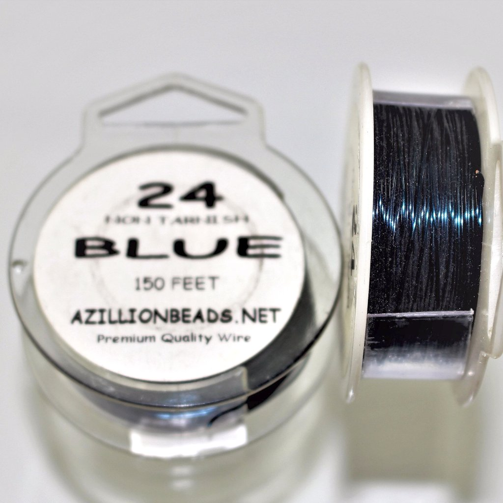 24g Copper Wire, Blue, 150ft  R7S5C-24BL - Azillion Beads