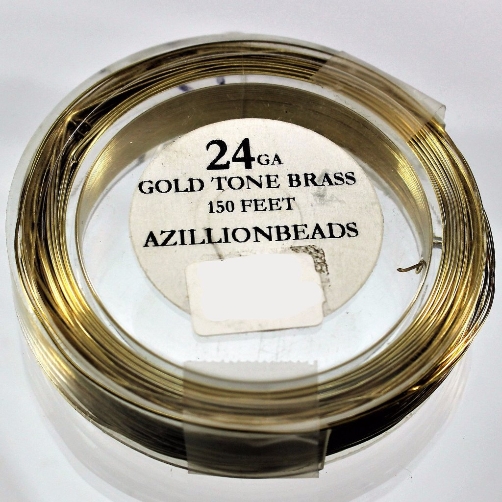 24g Brass Wire, Gold Tone Brass, 150ft  R7S5C-24GTB - Azillion Beads