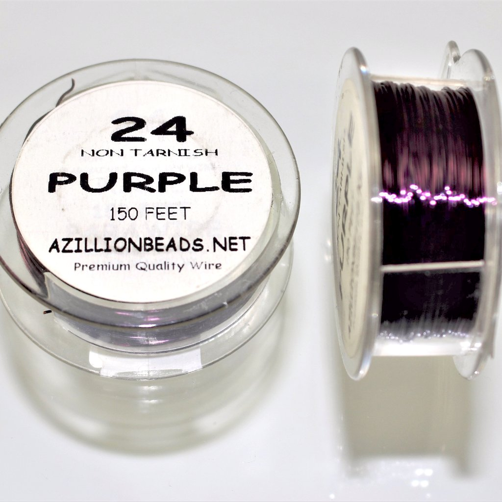 24g Copper Wire, Purple, 150ft  R7S5C-24PUR - Azillion Beads
