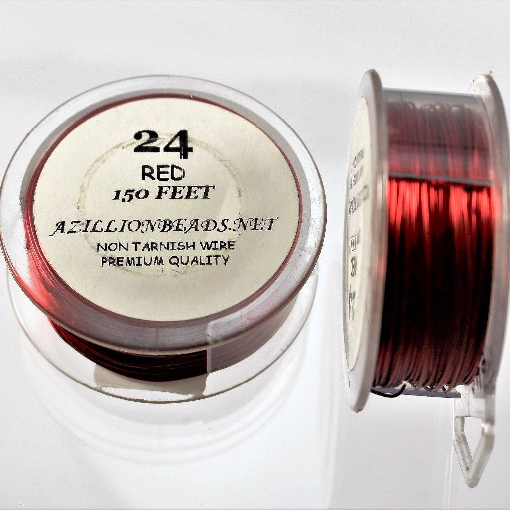 24g Copper Wire, Red, 150ft  R7S5C-24R - Azillion Beads