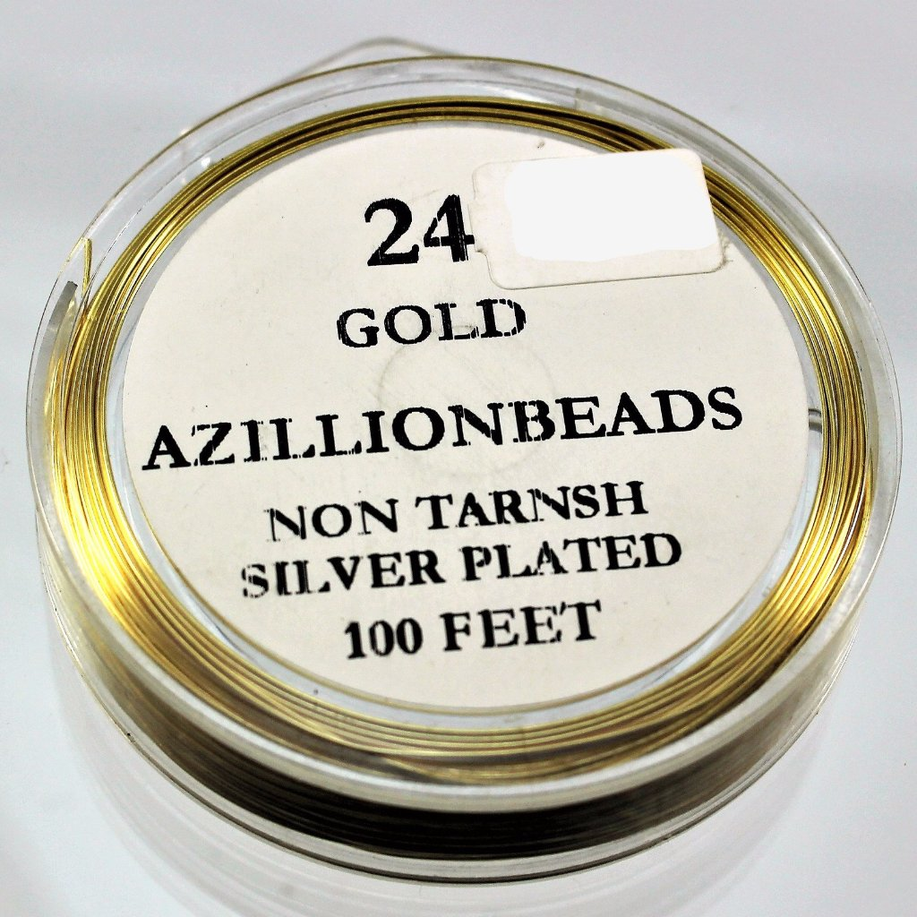 24g Copper Wire, Gold, 100ft  R7S5C-22SPG - Azillion Beads