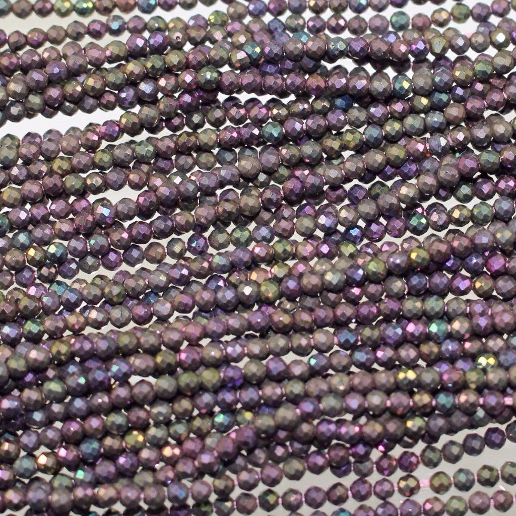 Spinel, Titanium Coated, Matte 2mm Faceted Rounds Beads. Sku W10555 - Azillion Beads