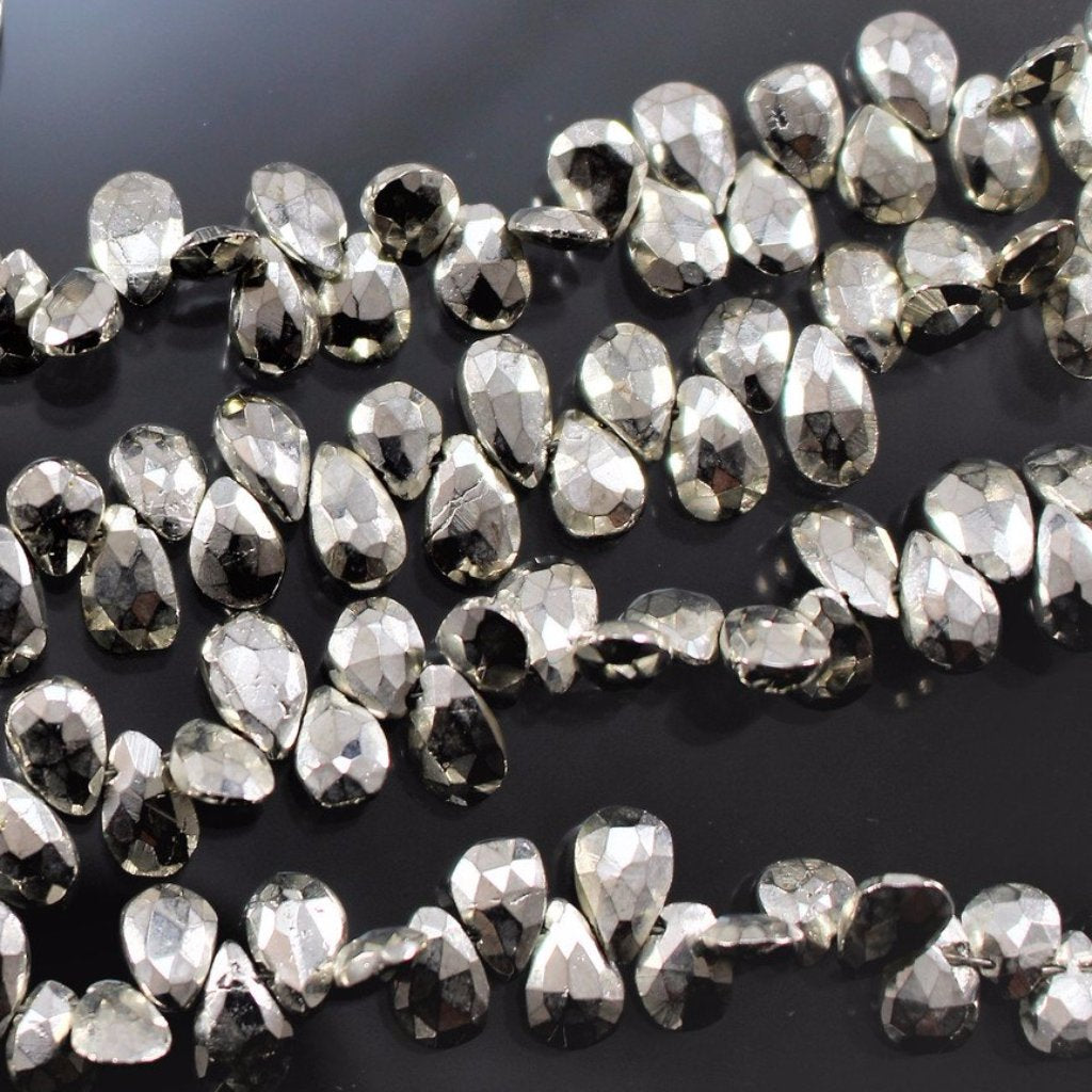 Pyrite, Silver Coated, Briolette Beads. Sku W10623 - Azillion Beads
