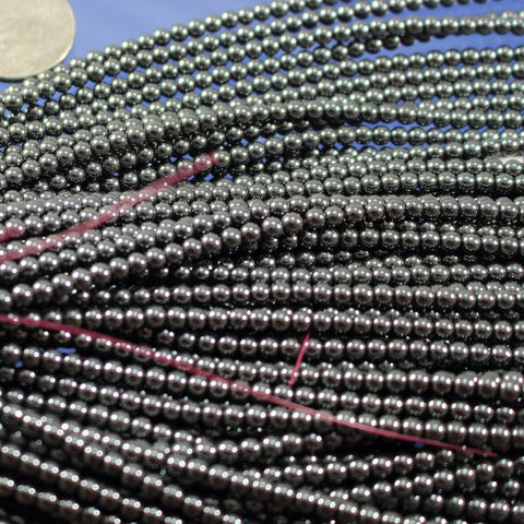 Hematite, 3.5mm Round Beads Sku W10454 CLOSEOUTS! - Azillion Beads