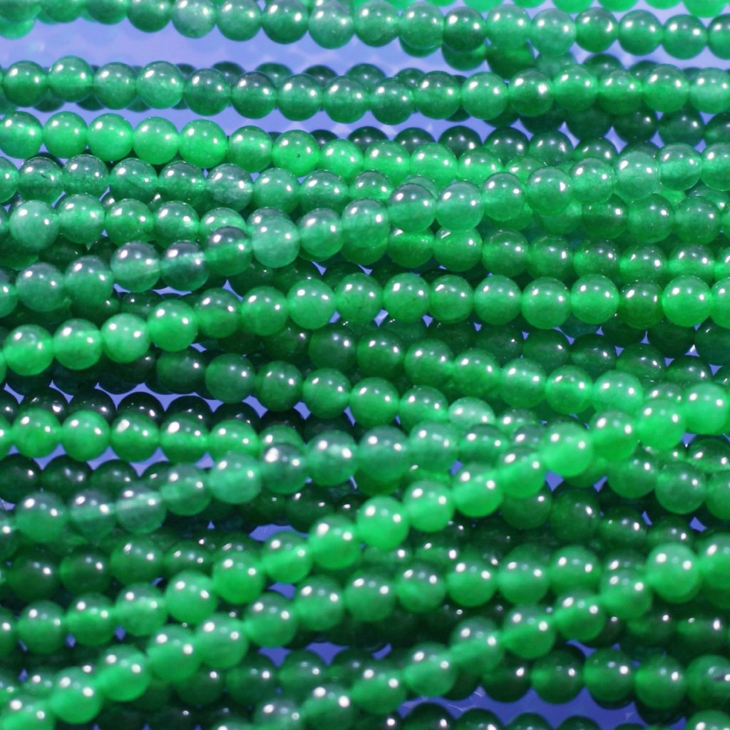 Jade Beads, Green, Dyed, 4mm. Sku W10069 - Azillion Beads