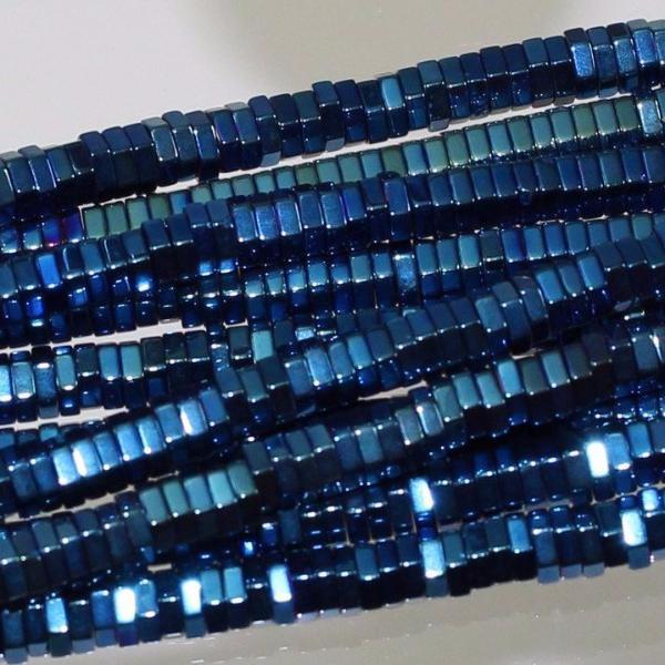 Hematite -Titanium Coated Blue Beads Sku W10488 - Azillion Beads