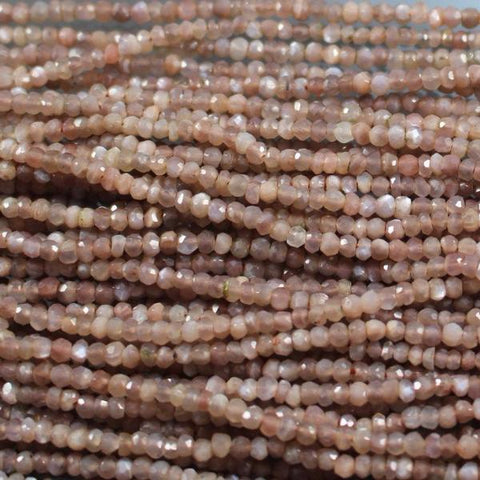 Moonstone, Chocolate, Faceted, Beads 2.5 x 3mm  Rondelles. Sku W10939 CLOSEOUTS! - Azillion Beads