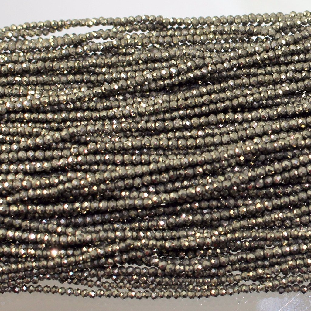 Pyrite Beads, Natural, Faceted 2mm. Sku W10533 CLOSEOUTS! - Azillion Beads
