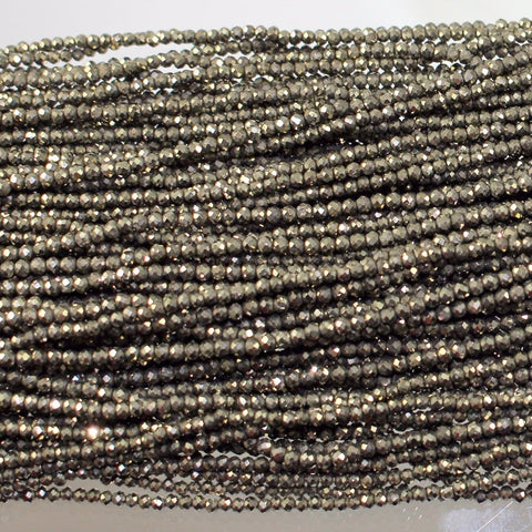 Pyrite Beads, Natural, Faceted 2mm. Sku 414 - Azillion Beads